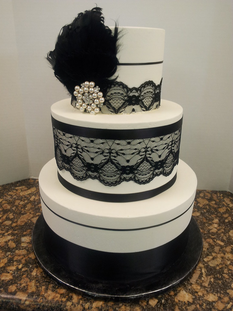 black lace wedding cakes black lace with feather wedding cake butter iced 11869