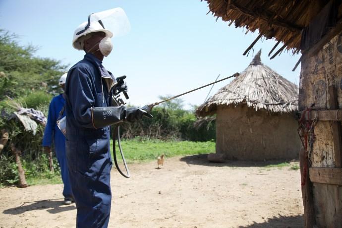 Man spraying for Malaria