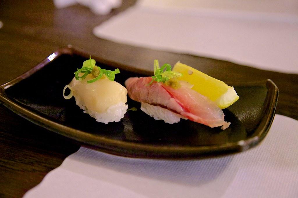 Omakase at Kantaro Sushi: Giant clam and king mackerel sus ...  Giant