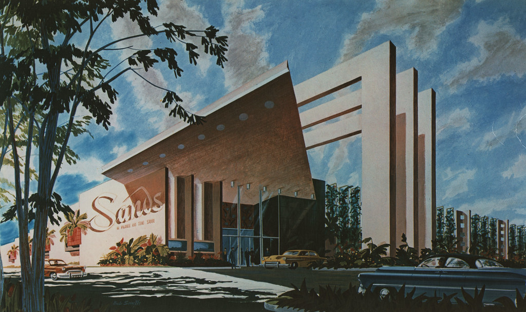 Photograph of googie architectural design of the sands hot for Design ce hotel