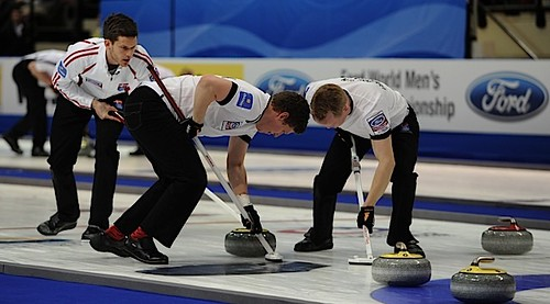 Victoria B.C.April 2,2013.Ford Men's World Curling Championship.Denmark skip Rasmus Stjerne,second Mikkel Adrup,lead Troels Harry.CCA/michael burns photo | by seasonofchampions