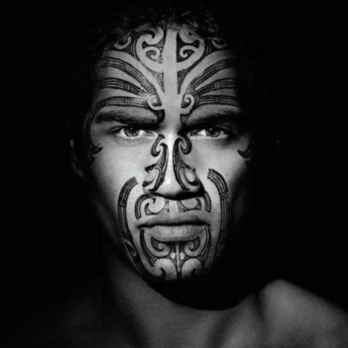 Maori Tribal Face Tattoo: Maori Warrior Face #Maori #tattooface #face #tattoo #NewZe