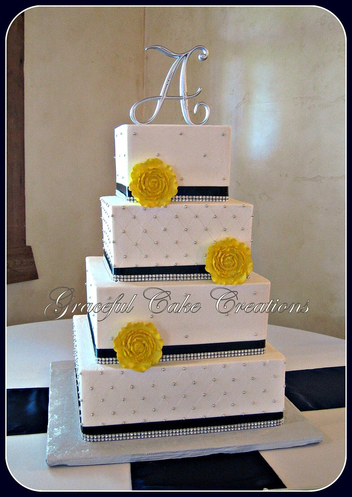 Pink Blue And Yellow Wedding Cake