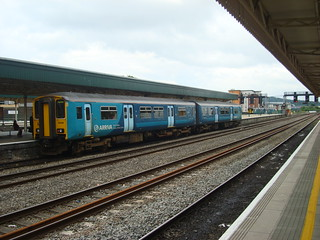Class 150 to Fishguard Harbour at Cardiff Central station