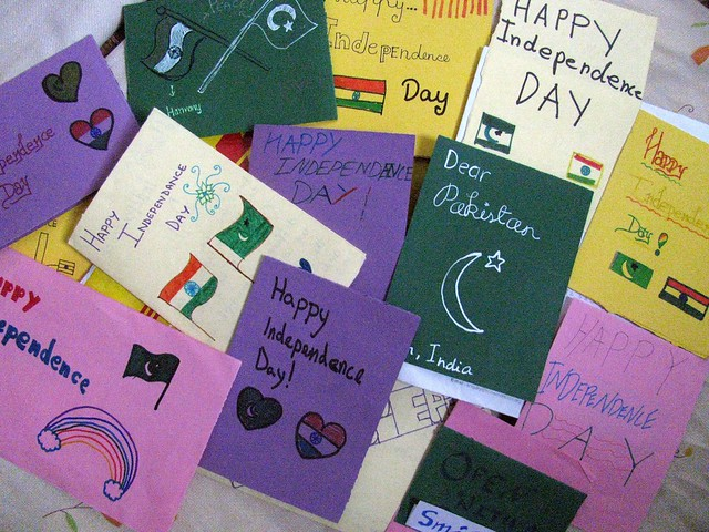 Students from india pakistan exchange greeting cards on independence day cards exchange between an indian and pakistani schoolg m4hsunfo