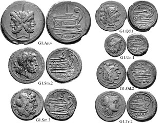 G1 Roman Republican Anonymous struck bronzes McCabe group G1 style variants, RRC56 Neat high-relief devices, well-centered on broad flans. Line-bounded bulbous prowstems. Small Janus heads. 40 gram As. | by Ahala