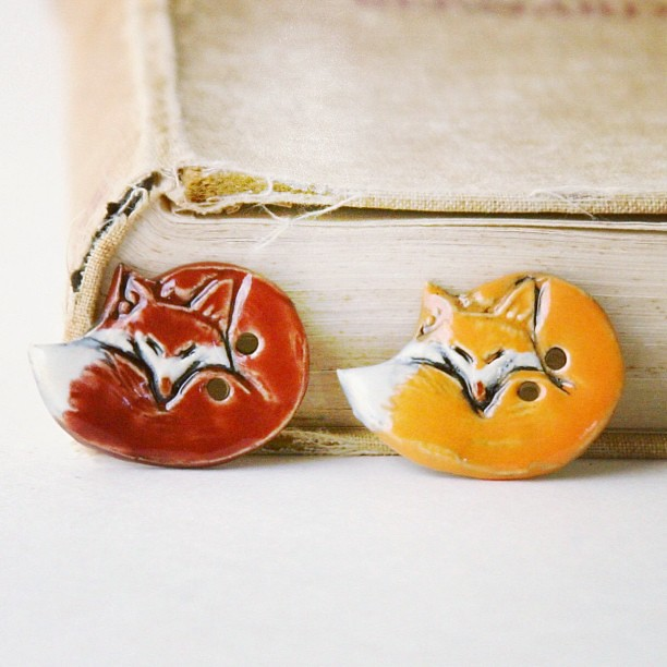 N Fox Pottery Mr Fox Ceramic Buttons...