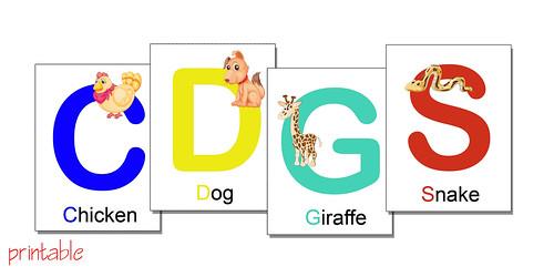 alphabet flash cards with animals - printable PDF