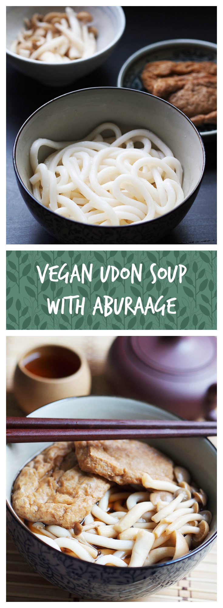 This vegan udon soup with seasoned aburaage (fried tofu pouch) is so easy to make, yet it is warm and comforting - perfect for a lazy day! #vegan #udon #soup #tofu #pouch #aburaage #japanese #vegetarian #asian #noonionnogarlic #recipe #thelazybroccoli