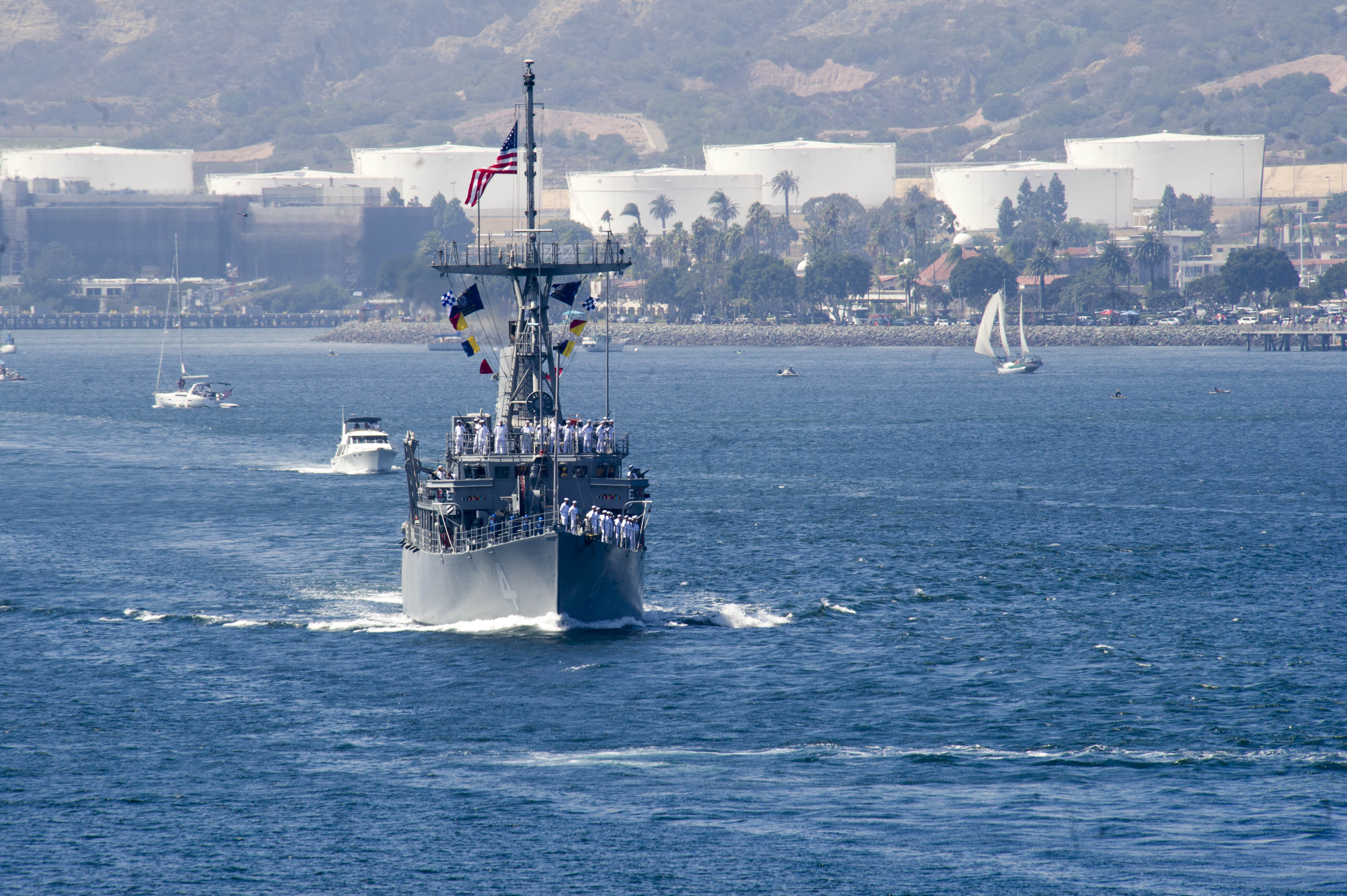 The Avenger-class mine countermeasure ship USS Champion (MCM 4) returned to Naval Base San Diego following the successful completion of a survey operation in the waters off the coast of Southern California, Sept. 11.