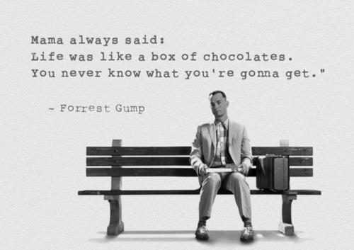 an analysis of the quote life is like a box of chocolates Rhetorical devices ap english 3 study play alluison  life is like a box of chocolates, you never know what you're going to get anecdote  process analysis a form of technical writing and expository writing designed to convey to the reader how a change takes place through a series of stages.