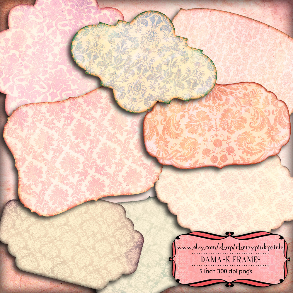 tags scrapbook frame damask frames scrapbook embelishment clip art great for scrapbooking tags