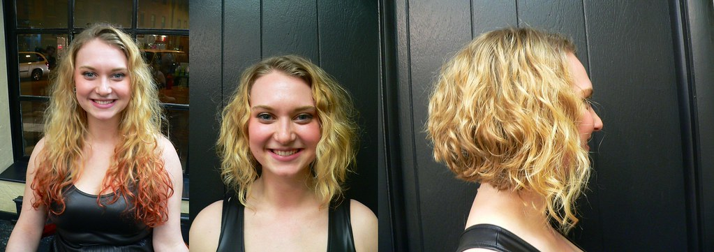 Before and after Long curly hair to short fun bob