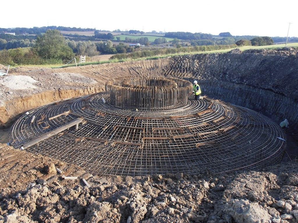Reinforcement for concrete foundation of pylon tower penn for Pylon foundation