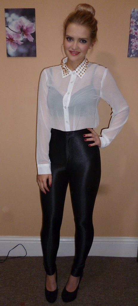 Sheer White Button Up Blouse Black High Waisted Pants Flickr
