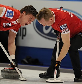 Victoria,B.C. Mar30-2013.Ford Men's World Curling Championship.Denmark lead Troels Harry,second Mikkel Adrup.CCA/michael burns photo | by seasonofchampions