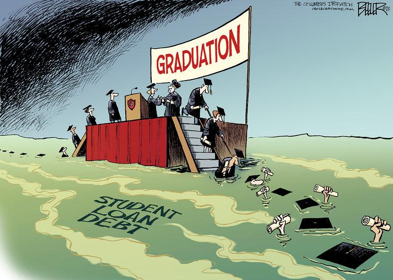 學貸颶風即將來襲,美國畢業生們的未來恐怕也將墜入學貸的污水中。(作者:Nate Beeler)