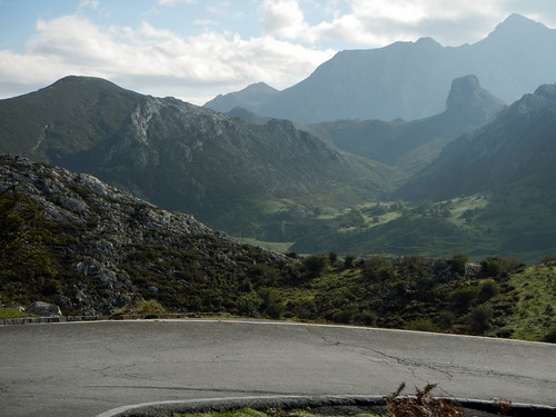 Curving road in the mountainous region of Covadonga, Spain