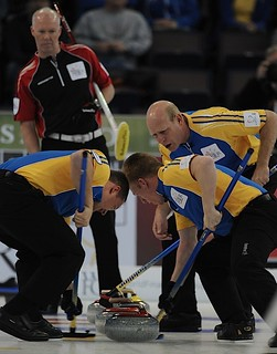 Edmonton Ab.Mar8,2013.Tim Hortons Brier.Alberta skip Kevin Martin,second Marc Kennedy,lead Ben Hebert,Ontario skip Glenn Howard.CCA/michael burns photo | by seasonofchampions