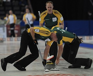 Edmonton Ab.Mar10,2013.Tim Hortons Brier.Northern Ontario skip Brad Jacobs,,second E.j.Harnden,lead Ryan Harnden.CCA/michael burns photo | by seasonofchampions