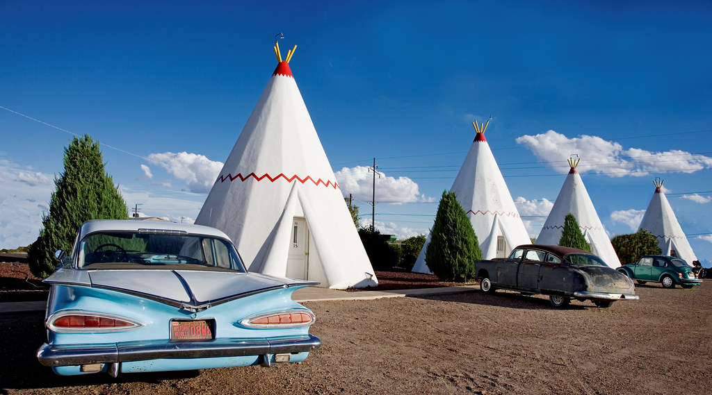 Wigwam Motel, Route 66, Holbrook, Arizona. The brain child of Frank Redford. There were originally seven Wigwam Motels. The wigwams have a steel frame covered with wood, felt and canvas under a cement stucco exterior.