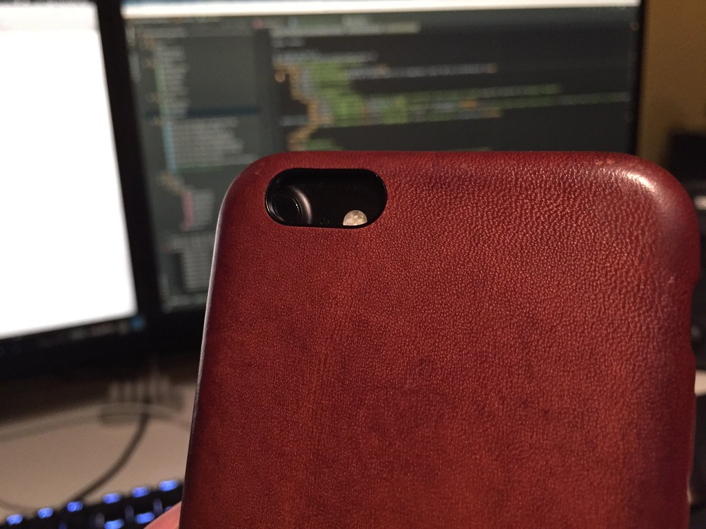 iPhone 6 Leather Case on an iPhone 7