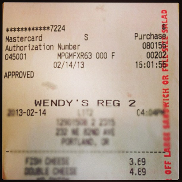Went to check out Wendy's new menu item... Receipt is odd.… | Flickr