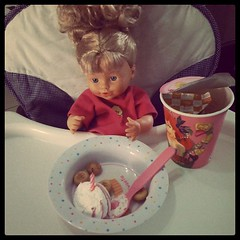 Pee pee party for the baby doll, let's hope Maddie is inspired.