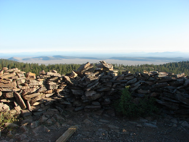 Stone windbreak on Pine Mountain