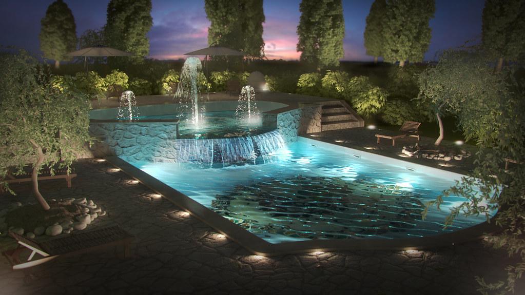 pool exterior render 3d maya pool render 3d by night mo flickr