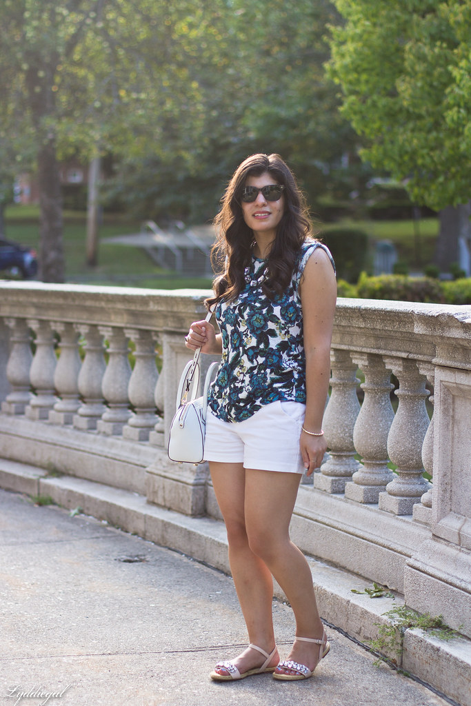 floral linen tee, white shorts, jeweled sandals-4.jpg