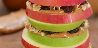 Apple Sandwiches with Granola and Peanut Butter | by digitalstyle_surat