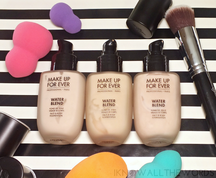 make up for ever water blend face & body foundation R210, Y225, R250 (1)