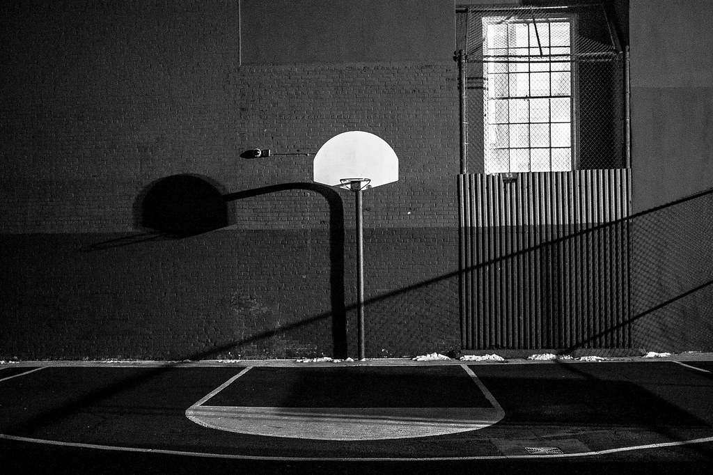 Basketball court black and white