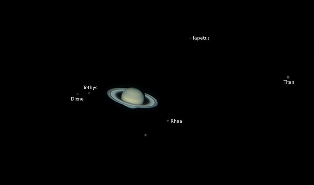saturn and its moons and their positions - photo #16
