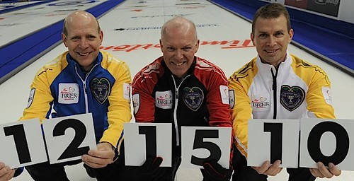 Edmonton Ab.Mar1_2013.Tim Hortons Brier.(L-R)skip Kevin Martin,(AB)Glenn Howard(Ont),Jeff Stoughton(MB).CCA/michael burns photo | by seasonofchampions