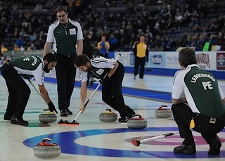 Edmonton Ab.Mar5,2013.Tim Hortons Brier.P.E.I. second Anson Carmody,lead Sean Ledgerwood,third Anson Carmody,skip Eddie Mackenzie.CCA/michael burns photo | by seasonofchampions