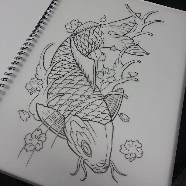 Koi tattoo design drawingshelenasaurus for Japanese koi fish drawing