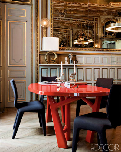 Modern French Style Red Dining Room Table Meets 1860s Par