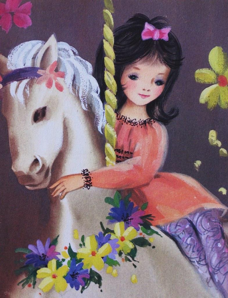 Sunshine Greeting Card Girl On Carousel Horse Heather David Flickr