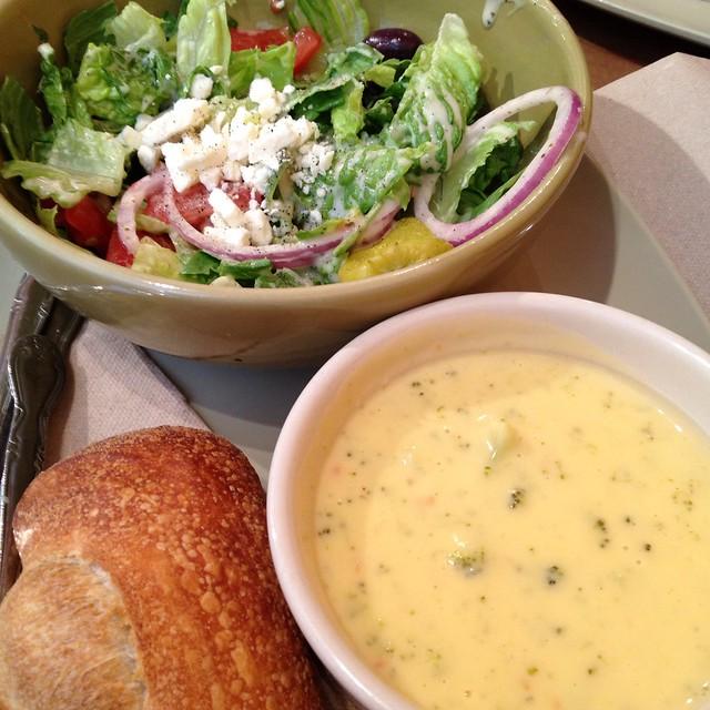 Cream Of Broccoli Soup With Greek Salad Panera Bread Flickr Photo Sharing