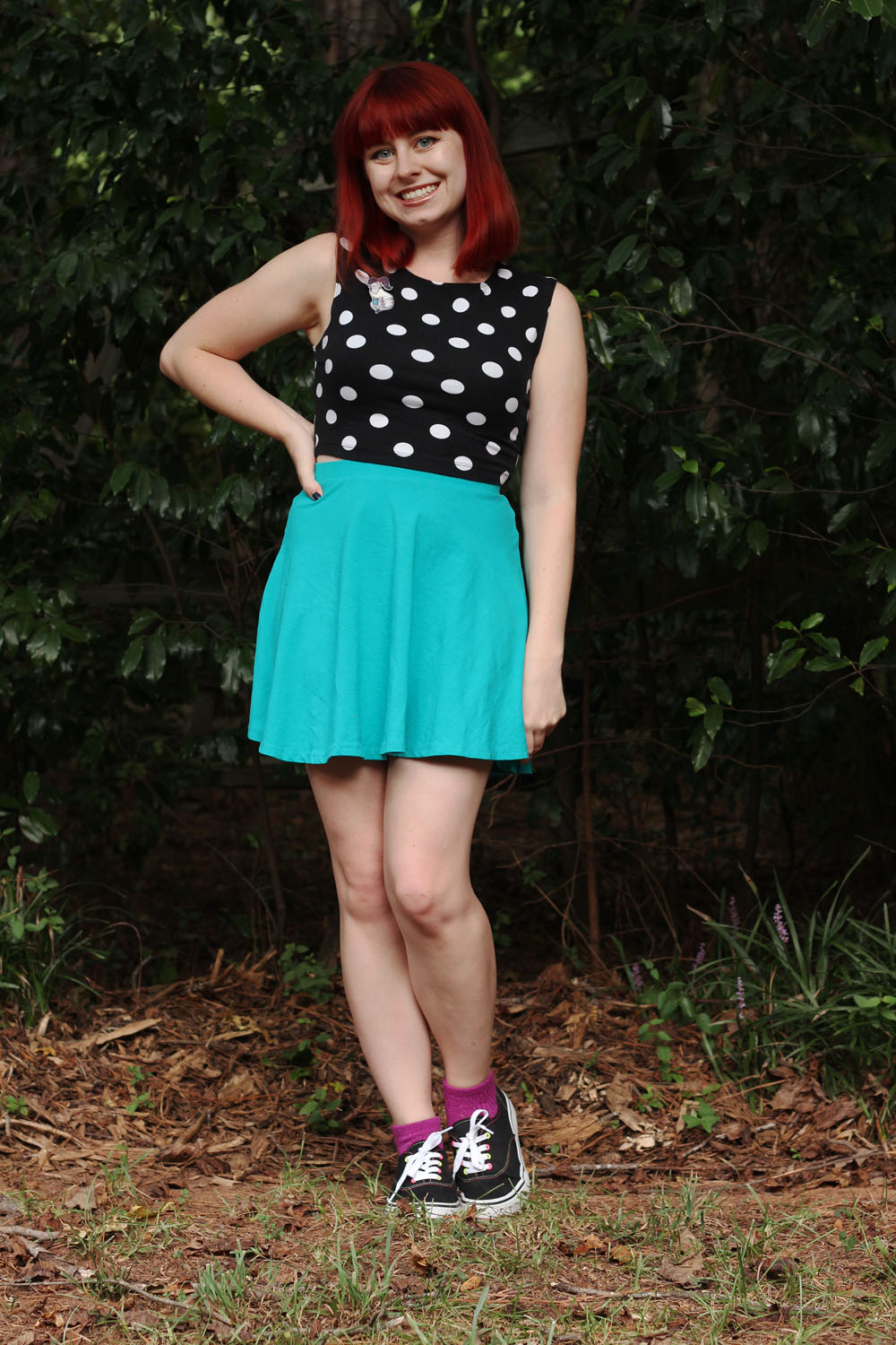 Blue Skater Skirt Black Dotted Crop Top Purple Socks Black Classic Gym Shoes