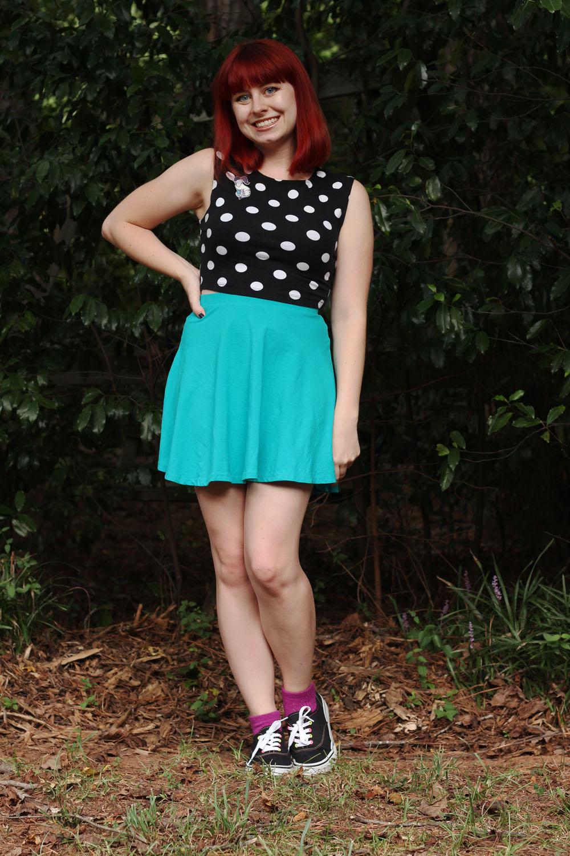 Blue Skater Skirt Black Dotted Crop Top Purple Socks Black Classic Gym Shoes