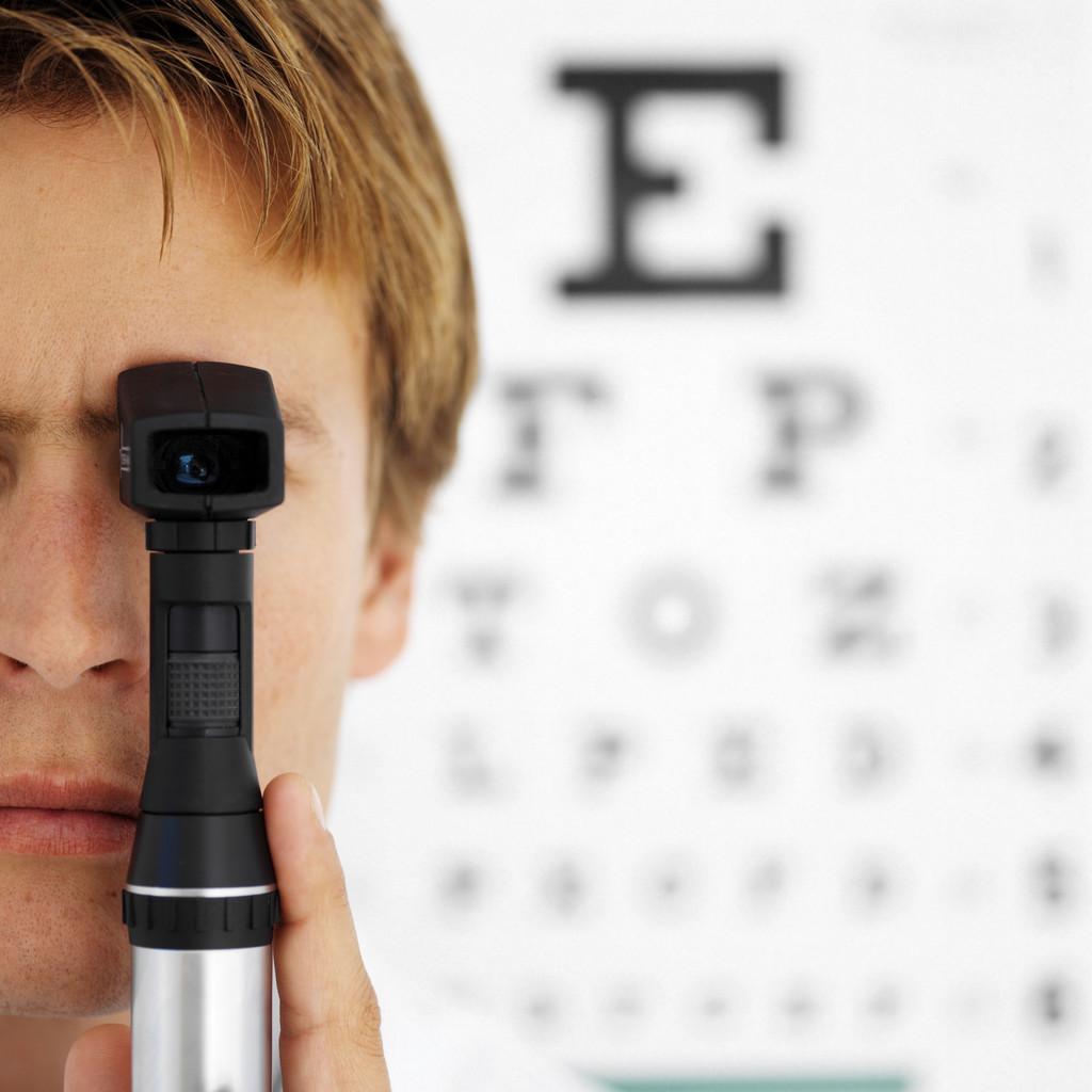 Boy testing eye site
