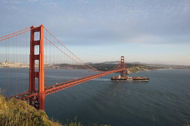 Golden Gate Bridge with containership