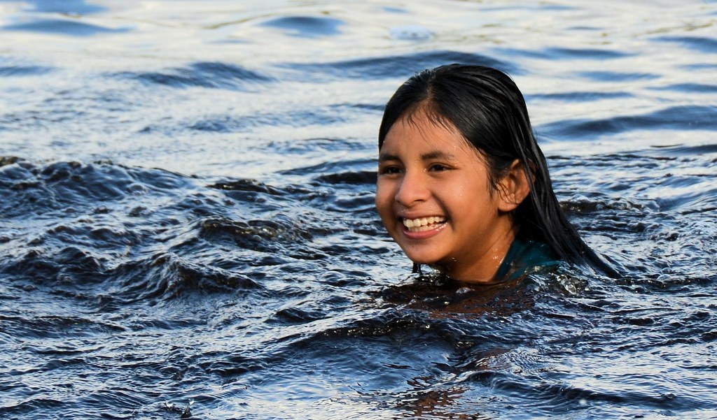Santamission - Amerindian Girl Swimming, Guyana  Winston -6448