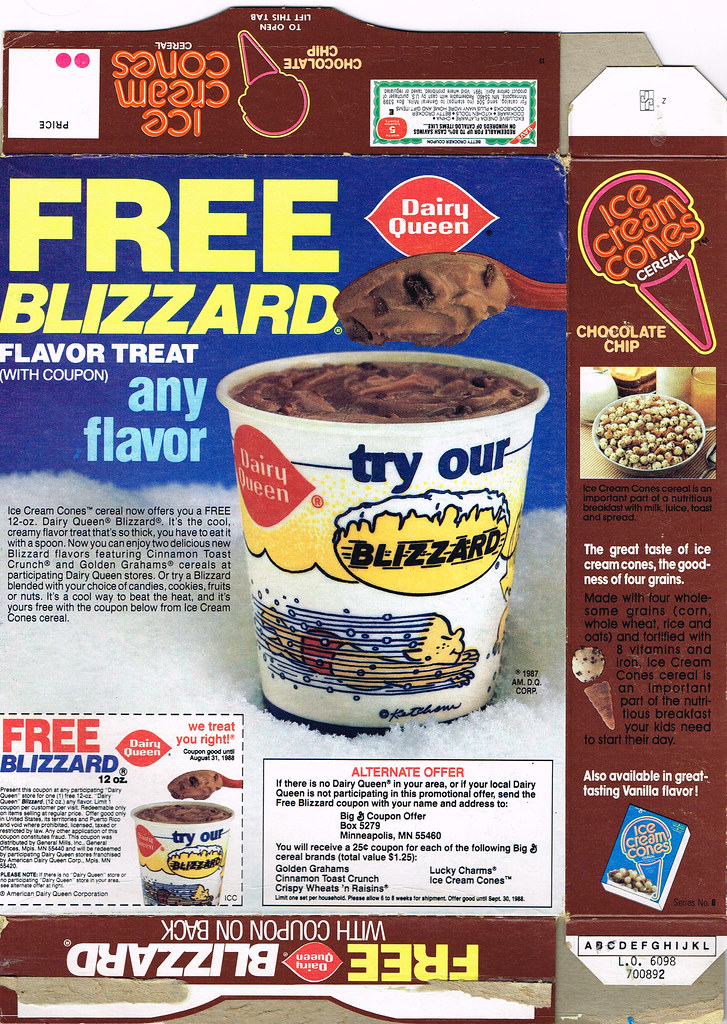Ice Cream Cones Cereal Box, 1987 | Back of the box with a ...