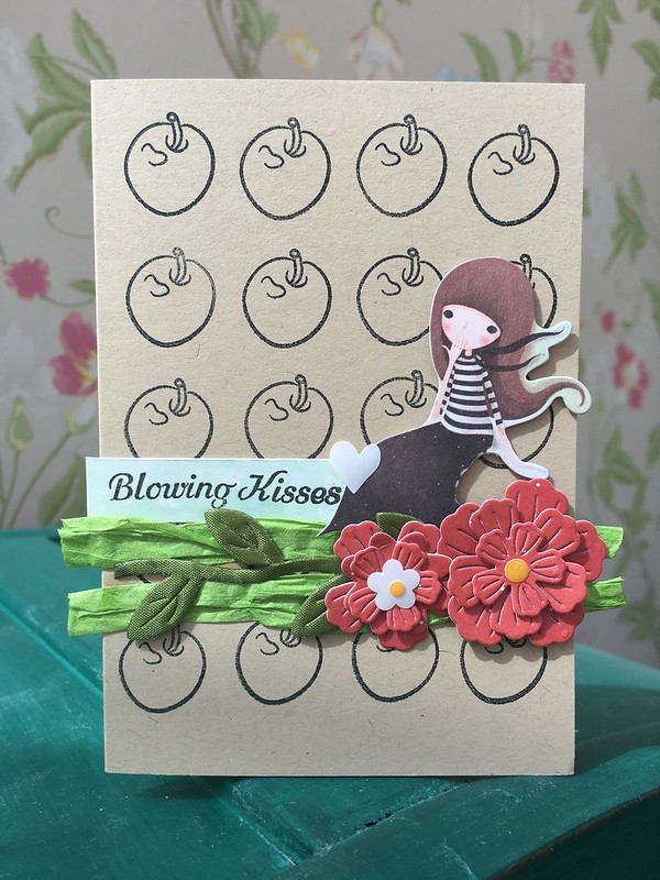 Santoro Kori Kumi apple stamped card by StickerKitten #craftconsortium