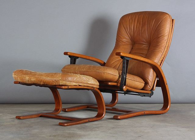 Danish Modern Teak Brown Leather Lounge Chair Ottoman