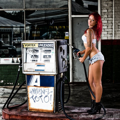 Sexy gas station girl